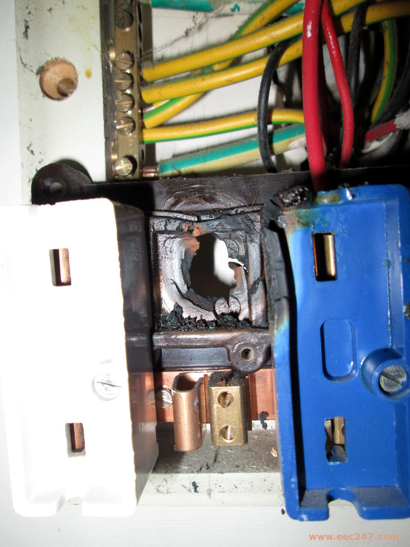 eec247 kevin s story closeup of a real customers fusebox showing signs of starting a fire