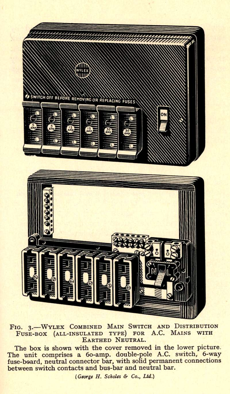Original catalogue description of the Wylex fusebox from the 1950s